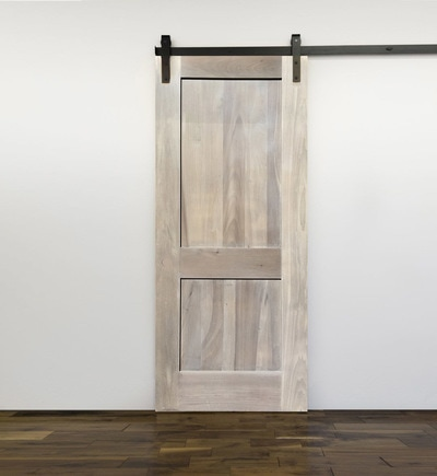 white wood door. 2 Panel, Flat, Sandstone + White Wash Wood Door